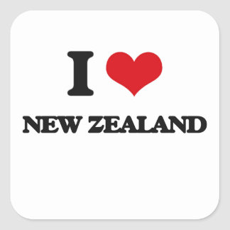 I Love New Zealand Square Stickers