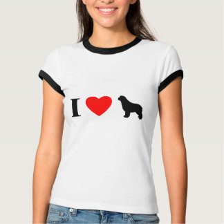 I Love Newfoundlands Ladies RInger TShirt