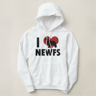 I Love Newfs Embroidered Hooded Sweatshirt