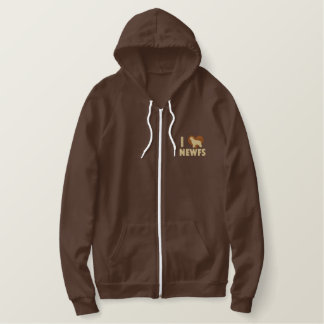 I Love Newfs Embroidered Zipper Hoodie