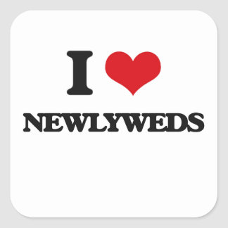 I Love Newlyweds Square Sticker