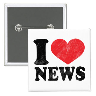 I Love News 15 Cm Square Badge