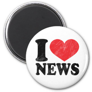 I Love News 6 Cm Round Magnet