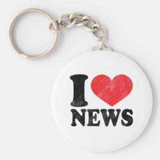I Love News Basic Round Button Key Ring