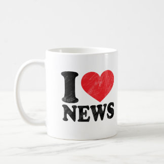 I Love News Basic White Mug