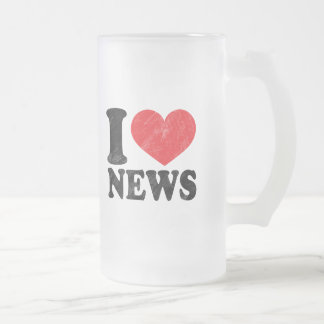 I Love News Frosted Glass Beer Mug
