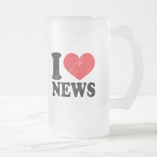 I Love News Frosted Glass Mug