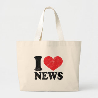 I Love News Large Tote Bag