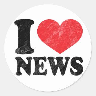I Love News Round Sticker
