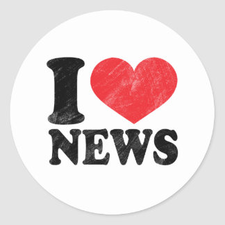 I Love News Round Sticker