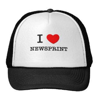I Love Newsprint Mesh Hat