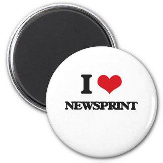 I Love Newsprint Refrigerator Magnets