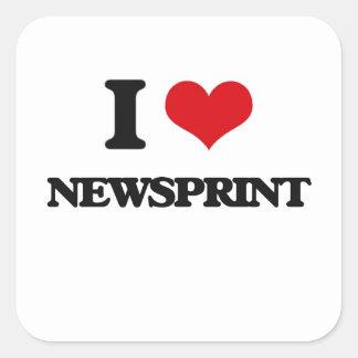I Love Newsprint Square Sticker