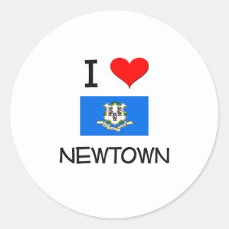 I Love Newtown Connecticut Round Sticker