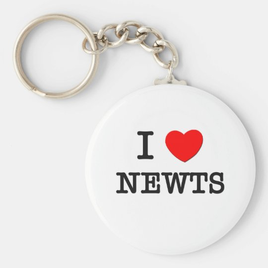 I Love Newts Basic Round Button Key Ring
