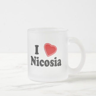 I Love Nicosia Frosted Glass Coffee Mug