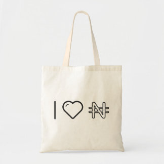 I Love Nigerian Currency Budget Tote Bag
