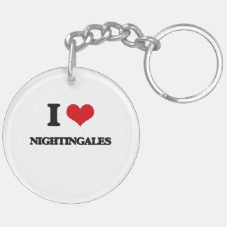 I Love Nightingales Double-Sided Round Acrylic Key Ring