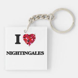 I Love Nightingales Double-Sided Square Acrylic Key Ring