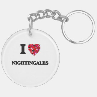 I Love Nightingales Double-Sided Round Acrylic Key Ring