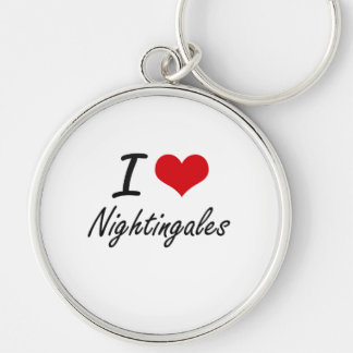 I Love Nightingales Silver-Colored Round Key Ring