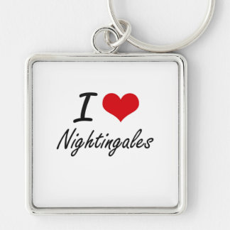 I Love Nightingales Silver-Colored Square Key Ring