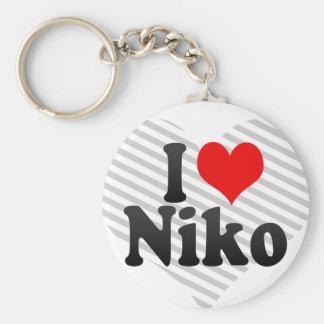 I love Niko Basic Round Button Key Ring