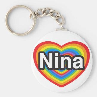I love Nina. I love you Nina. Heart Basic Round Button Key Ring