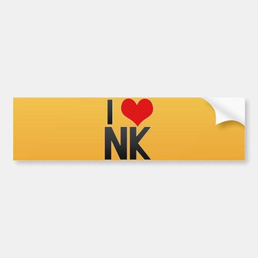 I Love NK Bumper Sticker