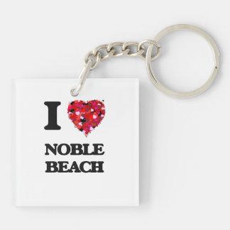 I love Noble Beach Ohio Double-Sided Square Acrylic Key Ring