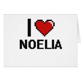 I Love Noelia Digital Retro Design Greeting Card