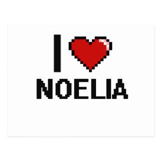 I Love Noelia Digital Retro Design Postcard