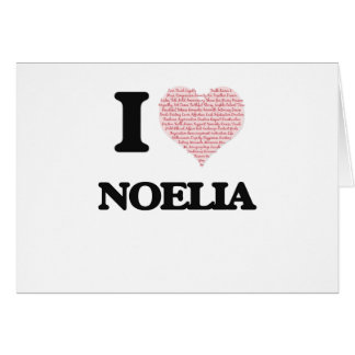 I love Noelia (heart made from words) design Greeting Card