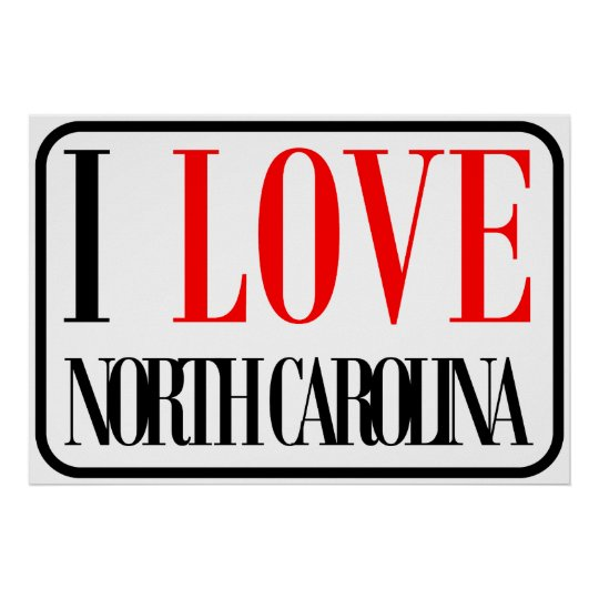 I Love North Carolina Design Poster