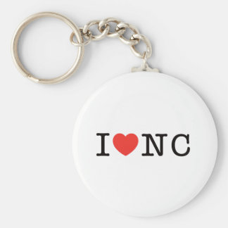 I LOVE North Carolina Basic Round Button Key Ring