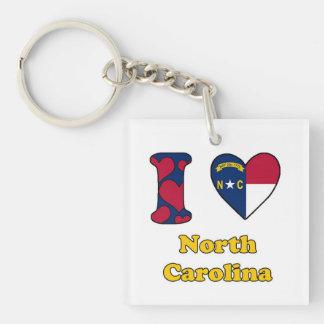 I love North Carolina Single-Sided Square Acrylic Key Ring