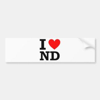 I Love North Dakota Design Bumper Sticker