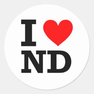 I Love North Dakota Design Round Sticker
