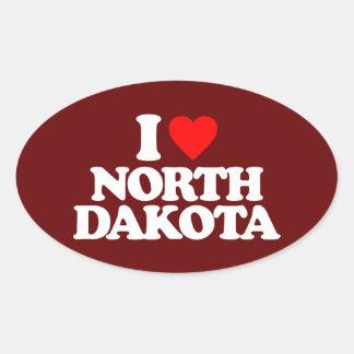 I LOVE NORTH DAKOTA OVAL STICKER