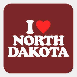 I LOVE NORTH DAKOTA SQUARE STICKER