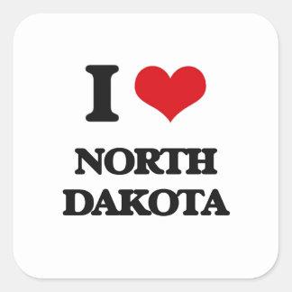 I Love North Dakota Square Stickers