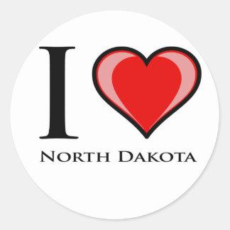 I Love North Dakota Round Stickers