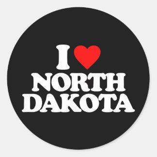 I LOVE NORTH DAKOTA ROUND STICKER