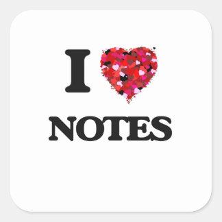 I Love Notes Square Sticker