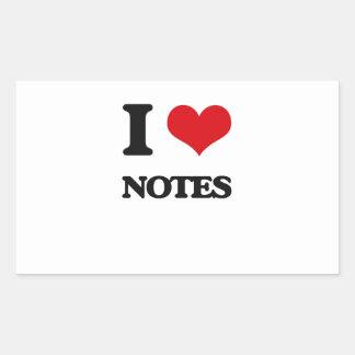 I Love Notes Rectangular Stickers