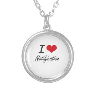 I Love Notification Round Pendant Necklace
