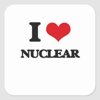 I Love Nuclear Square Stickers