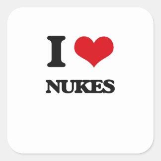 I Love Nukes Square Sticker