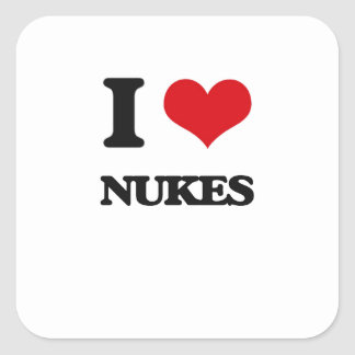 I Love Nukes Square Stickers