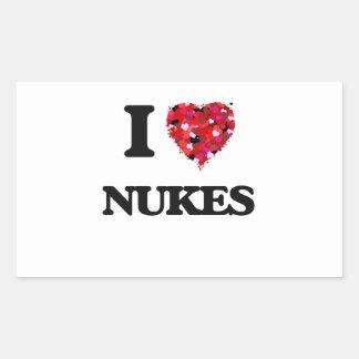 I Love Nukes Rectangular Sticker